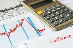 Disminución del mercado de acción, las pérdidas de cuenta Foto de archivo
