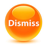Dismiss glassy orange round button Stock Images
