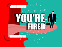 Dismissal poster. You're fired. Red boss shouts. Angry director Royalty Free Stock Image