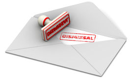Dismissal. Stamp and open postal envelope Stock Photos