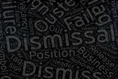 Dismissal ,Word cloud art on blackboard.  royalty free stock image