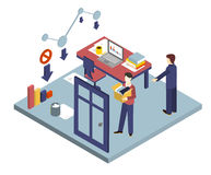Dismissal of a Worker. Isometric 3d vector  Stock Image