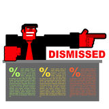 Dismissed. Infographics for dismissal. Red angry Bos points to d Stock Photos