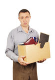 Dismissed man with cardboard box Royalty Free Stock Photo
