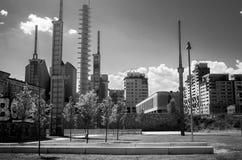 Dismissed power plant suburbs b&w Stock Photos
