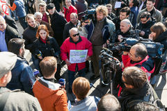 Dismissed public servants protest Stock Photo