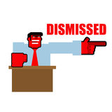 Dismissed. Red angry Bos points to door. Aggressive director yel Stock Image