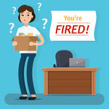 Dismissed woman. Fired from job. Box with office things. Flat style vector illustration Stock Photos