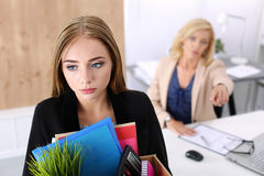 Dismissed worker in office, bad news, fired Stock Photo