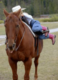 Dismount #1. Little cowgirl dismounting from bay horse stock photo