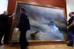 Dismounting the exhibition of Aivazovsky in Russian Museum. St. Petersburg, Russia - March 21, 2017: Dismounting the exhibition of Ivan Aivazovsky in the Russian Royalty Free Stock Photo