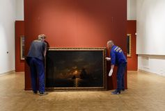 Dismounting the exhibition of Aivazovsky in Russian Museum. St. Petersburg, Russia - March 21, 2017: Dismounting the exhibition of Ivan Aivazovsky in the Russian Stock Photography