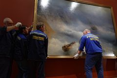 Dismounting the exhibition of Aivazovsky in Russian Museum. St. Petersburg, Russia - March 21, 2017: Dismounting the exhibition of Ivan Aivazovsky in the Russian Stock Images