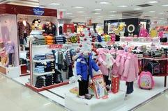 Disney  boys and girls clothes shop Stock Photos