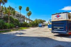 Disney bussar ställde upp i transportområdet av terminalen A och andra som för ‹för †avgår till olika destinationer på Orlan fotografering för bildbyråer