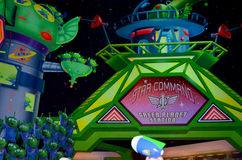 Disney Buzz lightyear attraction. This picture  was taken in the Buzz lightyear lazer ride in Disney Paris in June 2013. Seen hear Buzz lightyear from the Stock Photography
