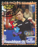 Disney Caharacter and Olympic Rings. BENIN - CIRCA 2007: stamp printed by Benin, shows Jan-Ove Waldner, Disney Caharacter and Olympic Rings, circa 2007 Royalty Free Stock Image