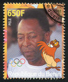 Disney Caharacter and Olympic Rings. BENIN - CIRCA 2007: stamp printed by Benin, shows Pele, Disney Caharacter and Olympic Rings, circa 2007 Stock Images