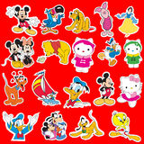 Disney cartoon sticker colection Stock Images