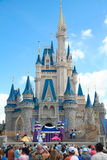 Disney Castle. Cinderella Disney Castle on a sunny day with blue sky and white clouds royalty free stock images