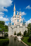 Disney Castle. Cinderella Disney Castle on a sunny day with blue sky and white clouds Royalty Free Stock Photos