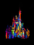 Disney. Castle beautifully lit with colors Stock Image