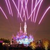 Shanghai Disney castle firework stock photo