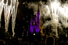 Disney Castle fireworks crowd Stock Photos