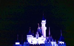 Disney Castle. Front view in Hong Kong China at night Stock Photography