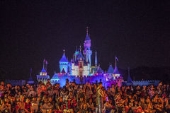 Disney castle. At night with light on Royalty Free Stock Photos