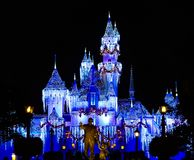 Disney Castle sparkles with the magic of Christmas stock photo