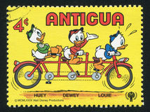 Disney Characters. ANTIGUA - CIRCA 1980: stamp printed by Antigua, shows Disney Characters, Huey, Dewey and Louie, circa 1980 stock image