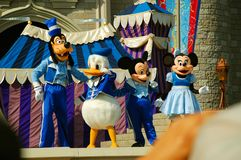 Disney Characters on Stage. The leading characters of Disney Mickey, Minnie, Goofy and Donald are on stage during the Dreams Come True magical show in Magic royalty free stock photos
