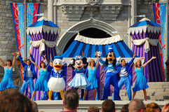 Disney Characters on Stage. The leading characters of Disney Mickey, Minnie, Goofy and Donald are on stage during the Dreams Come True magical show in Magic royalty free stock photography