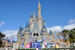Disney Cinderella Castle Walt Disney World. Dream Along with Mickey show in Cinderella Castle at Walt Disney World in Orlando, Florida, USA Stock Images