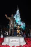 Disney Cinderella Castle Walt Disney World. Walt Disney and Mickey figures at night in Disney World Orlando, Florida, USA Royalty Free Stock Photography