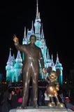 Disney Cinderella Castle Walt Disney World. Walt Disney and Mickey figures at night in Disney World Orlando, Florida, USA Stock Photos
