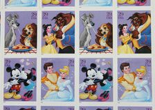 Disney Couples United States Postage Stamps. Disney Couples issued USPS postage stamps Stock Photos