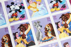 Disney Couples United States Postage Stamps. Disney Couples issued USPS postage stamps Stock Photo