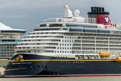 Falmouth, Jamaica - June 03 2015: Disney Fantasy cruise ship docked at the Falmouth Cruise Port in Jamaica. Disney cruise ship docked at the Falmouth Cruise stock photography