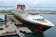 Disney Cruise Ship. PORT CANAVERAL, FLORIDA: SEPT 28, 2008 : Cruise ship Disney Wonder (Disney Cruise Line) docked in Port Canaveral, Brevard County,Florida, USA stock images