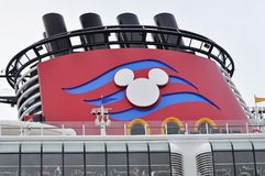 Disney Dream cruise ship Mickey Mouse decorated logo funnel Stock Photography