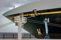 Falmouth, Jamaica - June 03 2015: Disney Fantasy cruise ship docked at the Falmouth Cruise Port in Jamaica. Disney Fantasy cruise ship docked at the Falmouth stock photo
