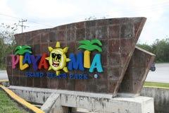 Disney Fantasy. Playa Mia Grand Beach Park entrance in Mexico royalty free stock photos