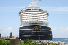 Disney Fantasy at Castaway Cay. Disney Fantasy docked at Castaway Cay in the Bahamas Royalty Free Stock Photography