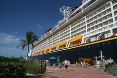 Disney Fantasy. In port at Castaway Cay Island stock images