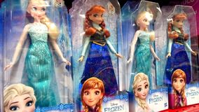 Disney Frozen Elsa and Anna Dolls stock photos