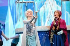 Disney Frozen Princess Elsa and Anna. In the show of Shanghai Disneyland Stock Image