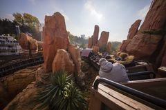 Disney Land Paris, France, November 2018: Big Thunder Moutain Railroad. royalty free stock image