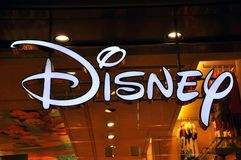 Disney logo. Walt Disney Productions is a leader in the American animation industry before diversifying into live-action film production, television, and travel stock photos